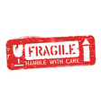 fragile this way up isolated grunge seal vector image vector image