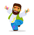 funny dancing man in paint vector image