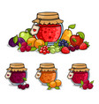 jar of jam surrounded by fruits and berries vector image