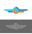 knot style logo with two wings three color vector image vector image