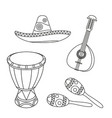 line art black and white mexican music set vector image vector image