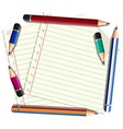 line paper with many pencils on it vector image vector image