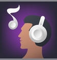 man listening music icon vector image