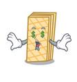 money eye waffle mascot cartoon style vector image vector image