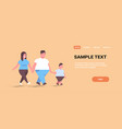 over size family walking together overweight vector image vector image
