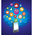 phone with bright social media icons - vector image vector image