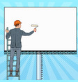 pop art businessman in helmet with blank billboard vector image vector image