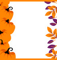 purple pumpkins on orange border background card vector image vector image
