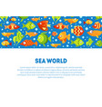 sea world banner template with cute colorful