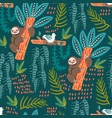 seamless pattern with sloth forest pattern vector image