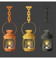 Set of metal lamps or lanterns holding on chain vector image vector image