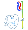 Smiling Tooth Cartoon Character With Toothbrush vector image vector image