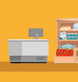 supermarket shelvings with register machine vector image