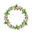 watercolor christmas wreath with green vector image