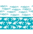 Waves and fish ocean seamless borders vector image vector image