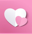 white paper cut love heart for valentines day or vector image vector image