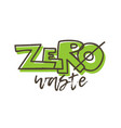 zero waste banner with lettering vector image vector image