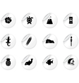 Stickers with Hawaii icons vector image