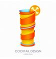 3D cocktail tequila sunrise design vector image