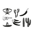 black and white 8 mexican elements vector image vector image