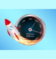 boost internet speed meter with toy rocket vector image vector image