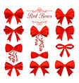 cartoon red bow set vector image vector image