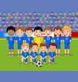 cartoon soccer kids team at a stadium vector image vector image
