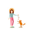 cat owner female with her pet flat vector image vector image
