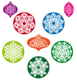 Christmas balls with snowflake pattern vector image