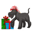 Christmas theme with dog and present vector image vector image