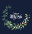 christmas wreath with branches and mistletoe vector image