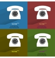 Color set Retro telephone Flat modern web button vector image