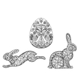 Coloring pages symbols of Easter egg hare rabbit vector image