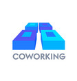 coworking banner isometric icon with abstract vector image