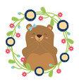 cute bear flowers vector image