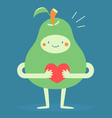 Cute Pear Hugging a Heart vector image vector image
