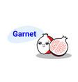 Cute red garnet cartoon comic character with