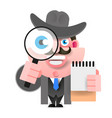 detective holding a magnifying glass vector image vector image