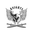 emblem template with medieval knight helmet and vector image vector image