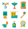 Flat icons of bathroom vector image