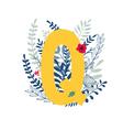 floral alphabet letter q vector image vector image