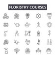 floristry education line icons signs set vector image