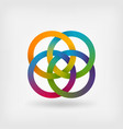 four interlocked rings in rainbow colors vector image vector image