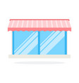 glass shop window with canopy icon flat isolated vector image
