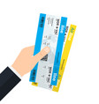 hand holding boarding pass tickets vector image vector image