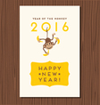 happy new year greeting card with hanging monkey vector image vector image