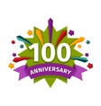 Happy one hundredth birthday badge icon vector image