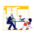 hard work business man and woman with low battery vector image vector image