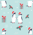 holiday pattern with lovely penguins vector image vector image