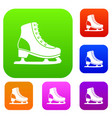ice skate set collection vector image vector image